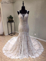 New Design Mermaid Wedding Dresses 2018 V Neck Sleeveless Court Train Appliques Lace Long Bridal Gowns