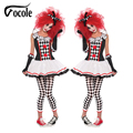 Vocole Ladies Halloween Harley Quinn Jester Cosplay Costume Circus Clown Fancy Dress Outfit Canival Party Adult Women