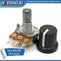 1pcs WH148 B10K B20K B50K B100K 3pin 15mm 1K 2K 5K 10K 20K 50K 100K 250K 500K 1M hjxrhgal + 1pcs knob Potentiometer knob