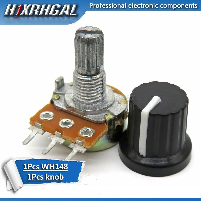 1pcs WH148 B10K B20K B50K B100K 3pin 15mm 20 10 5 2 1K K K K K K 100K 250K 500K 1 50 M hjxrhgal + 1pcs knob Potenciômetro knob