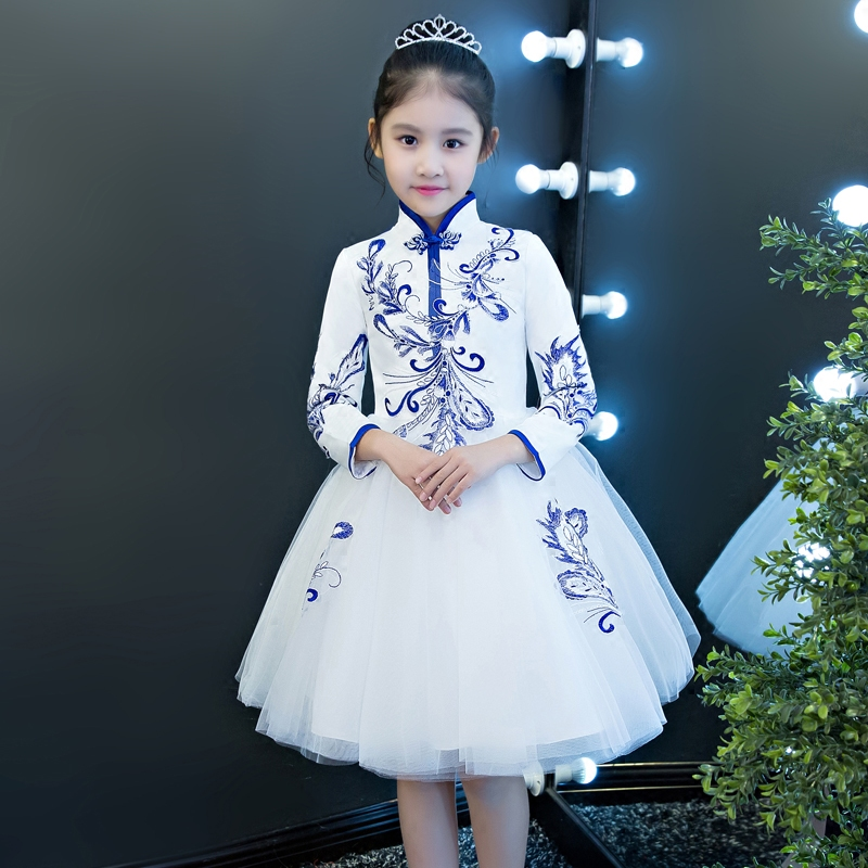 2018 New Luxury Children Girls Chinese Wind National Embroidery Flowers Princess Kids Ball Gown Dress Birthday Model Show Dress national wind embroidery lace paneled v neck blouse