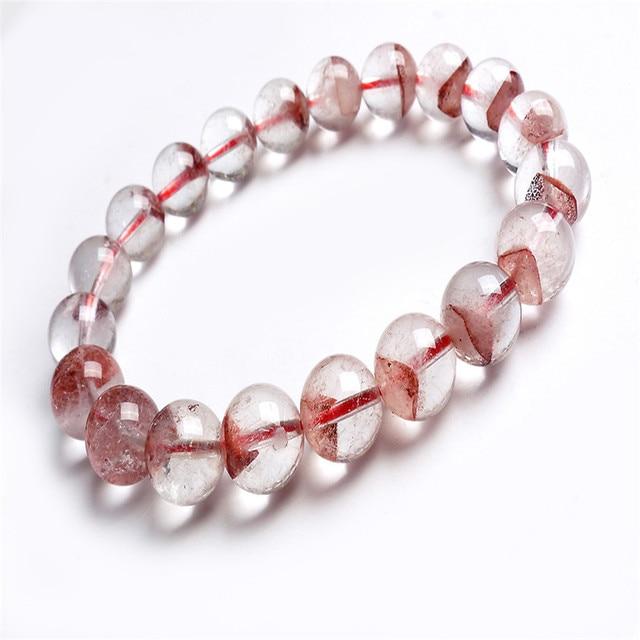 10.5mm Genuine Natural Red Garden Ash Phantom Quartz Bracelets For Women Femme Charm Stretch Round Crystal Bead Bracelet