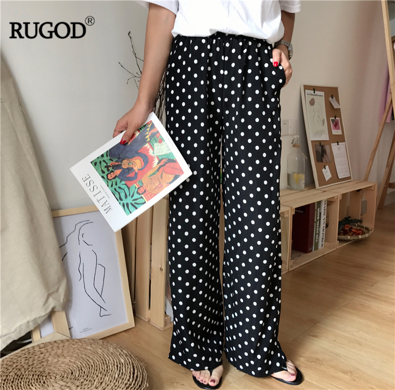RUGOD 2018 Summer New Arrival Vintage Female   Pants   Comfortable Casual Loose Women Long   Pants   Chiffon Eastic Waist   Wide     Leg     Pants