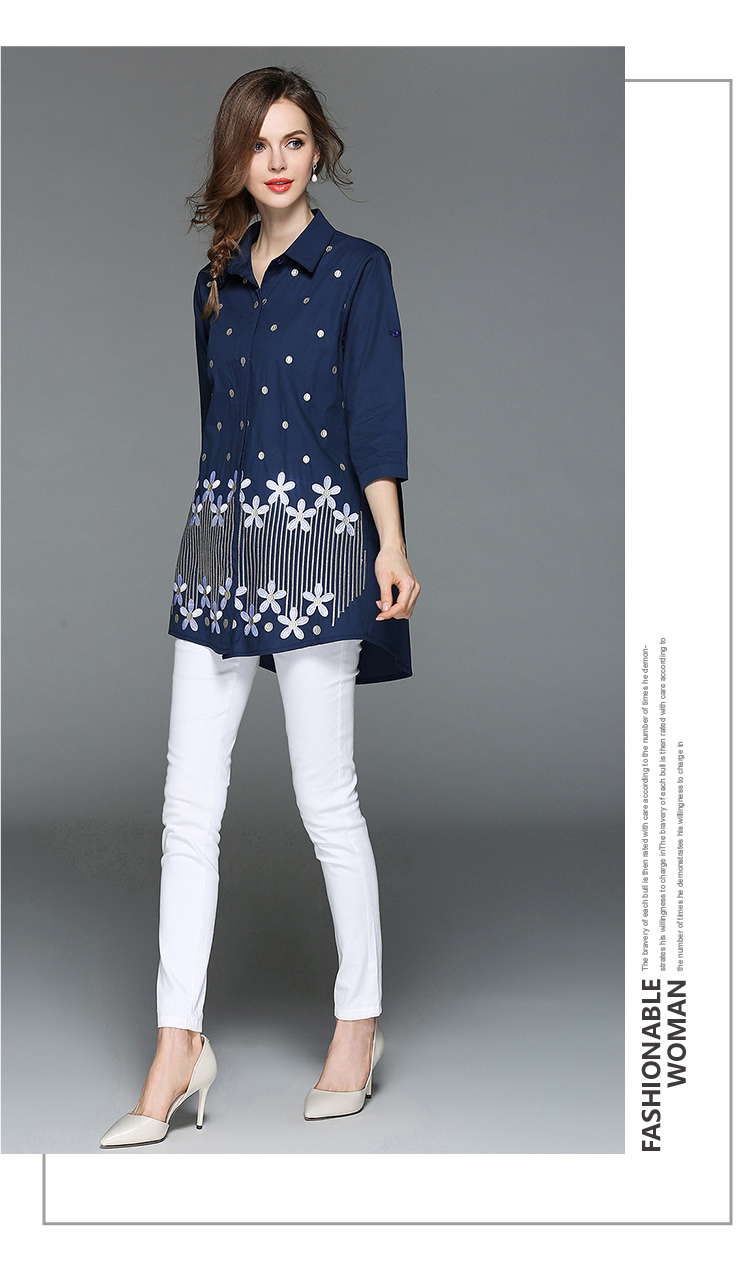 1785526890 Verano suelta azul bordado camisa Mujer Tops y blusas Moda Mujer 2018  Oversize Casaco femenino damas K3072