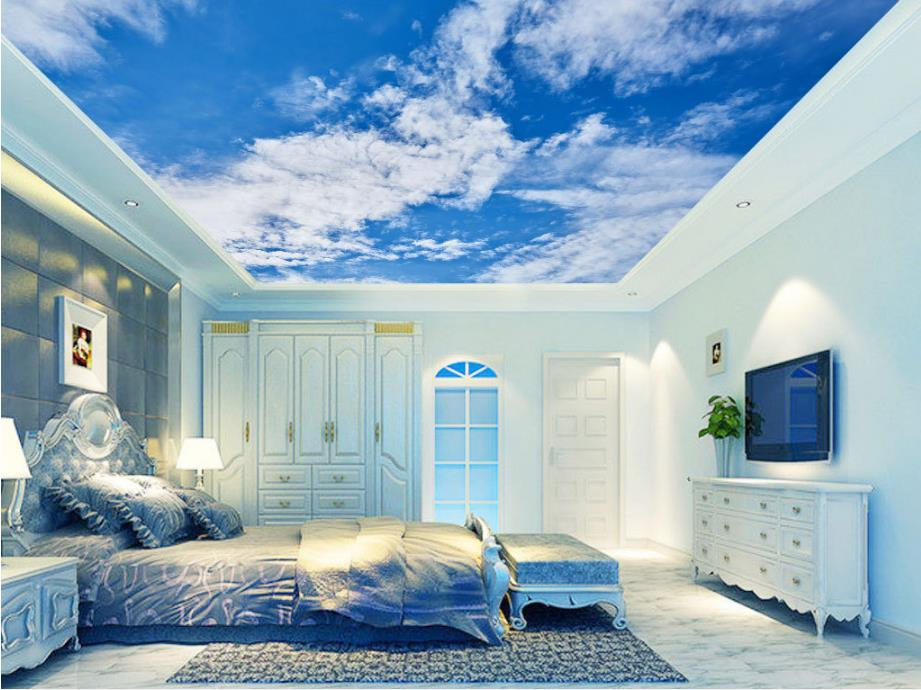 HD Blue Sky And White Clouds Photo Wallpaper 3D Sky Ceiling Wallpaper Stereoscopi Bedroom Living Room Wallpaper 3D Ceiling high definition sky blue sky ceiling murals landscape wallpaper living room bedroom 3d wallpaper for ceiling
