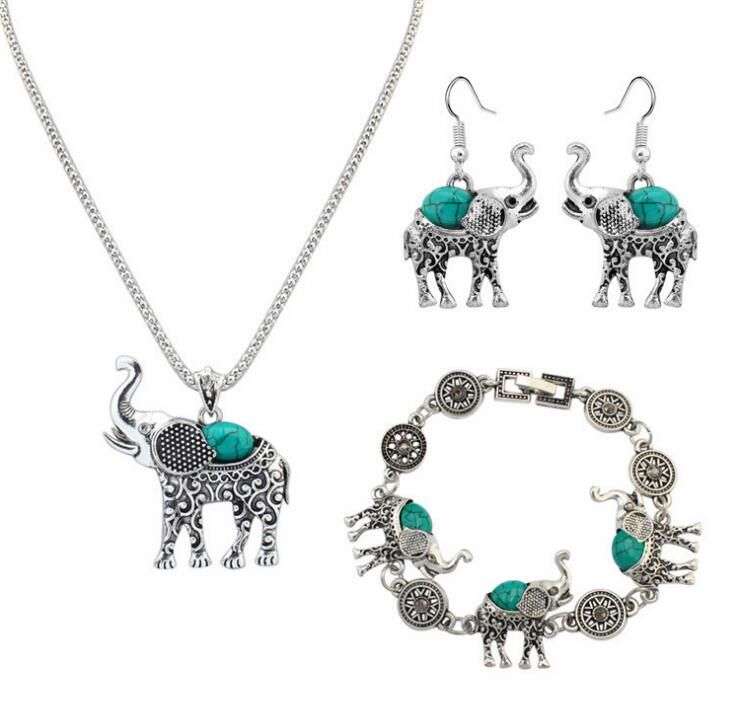 Poem snow Pine Elephant Set Chain Euramerican Fashion Necklace Earrings Set Jewelry Four Set Jewelry