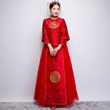 New arrival Chinese style vintage bride formal dress Tang suit costume ancient traditional red married cheongsam