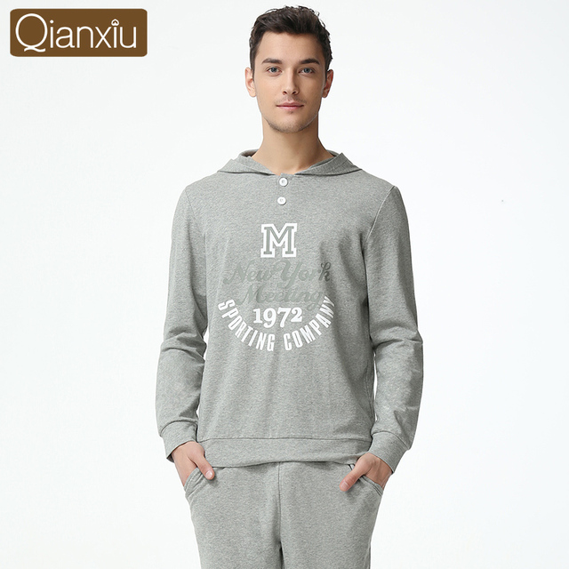 2016 Spring And Autumn New Couples Modal Knitted Hooded Long-Sleeved Pajama Suit Tracksuit Men Can Wear Out Qianxiu 1613