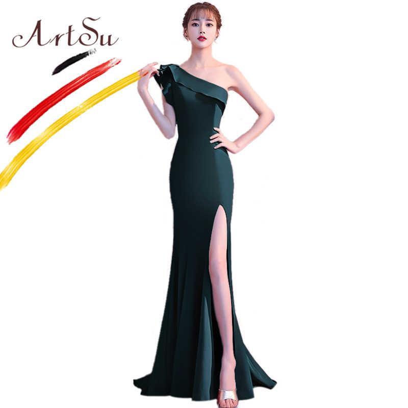 e977e052e42f177 ... Арцу Элегантное синее длинное платье для выпускного вечера женское  сексуальное раздельное платье с рюшами на одно ...
