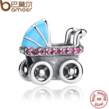 Bamoer nueva colección primavera 925 cochecito de bebé del coche azul de plata encantos ajuste pulsera diy accesorios scc010