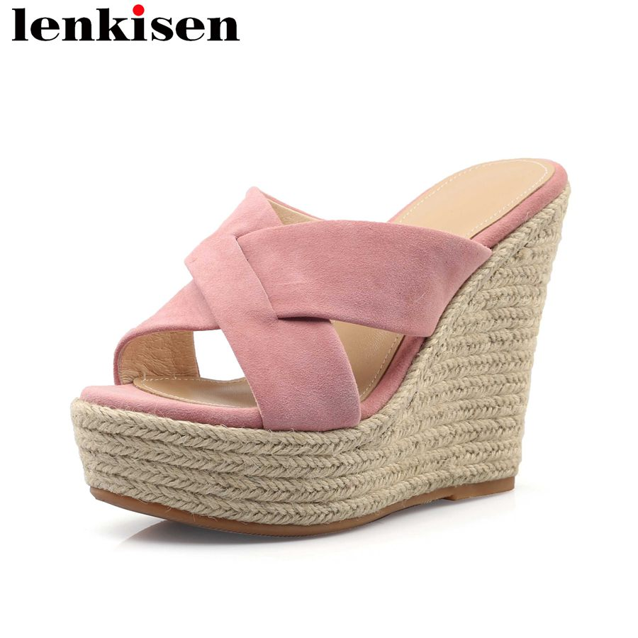 Lenkisen natural leather straw decoration peep toe slingback mules slip on super high bottom platform fashion