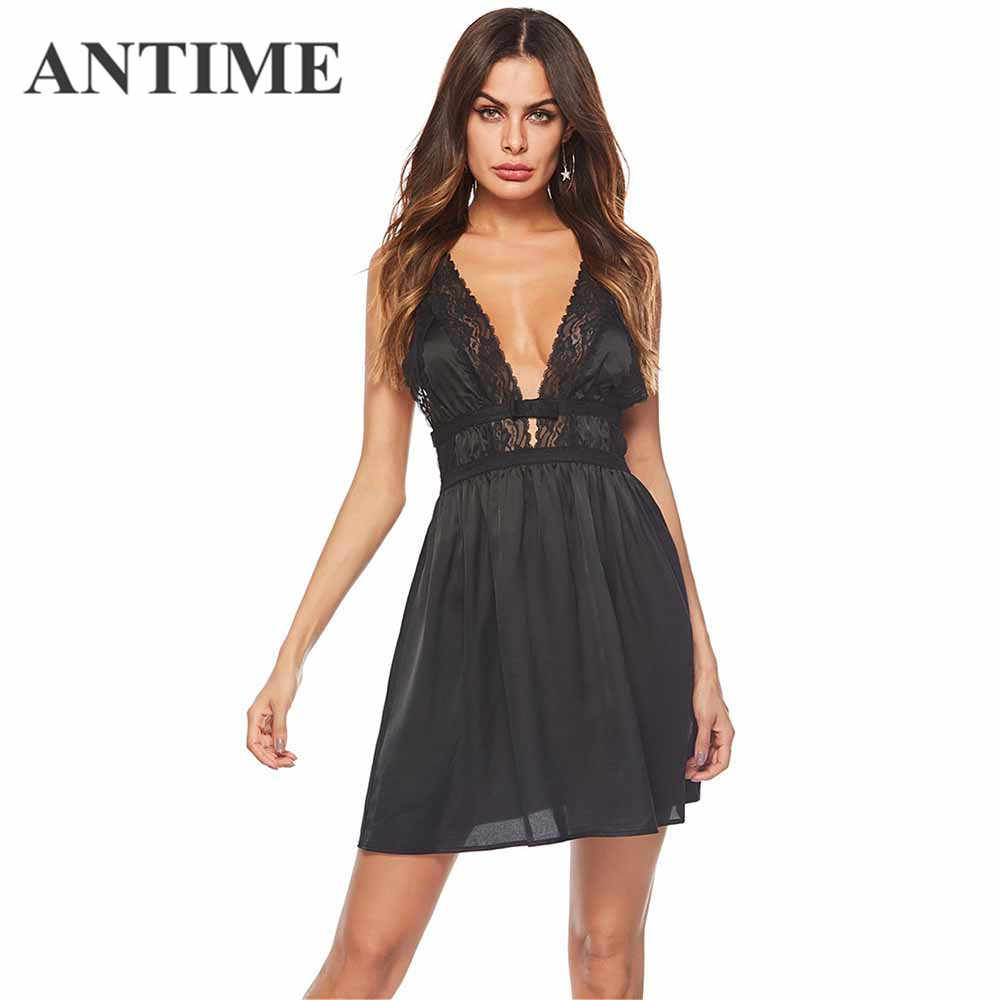 ANTIME Women Black Dress Casual Sexy Deep V Neck Spring Summer Lace A Line Sleeveless Solid Mini Pretty New Chic Fashion Clothes