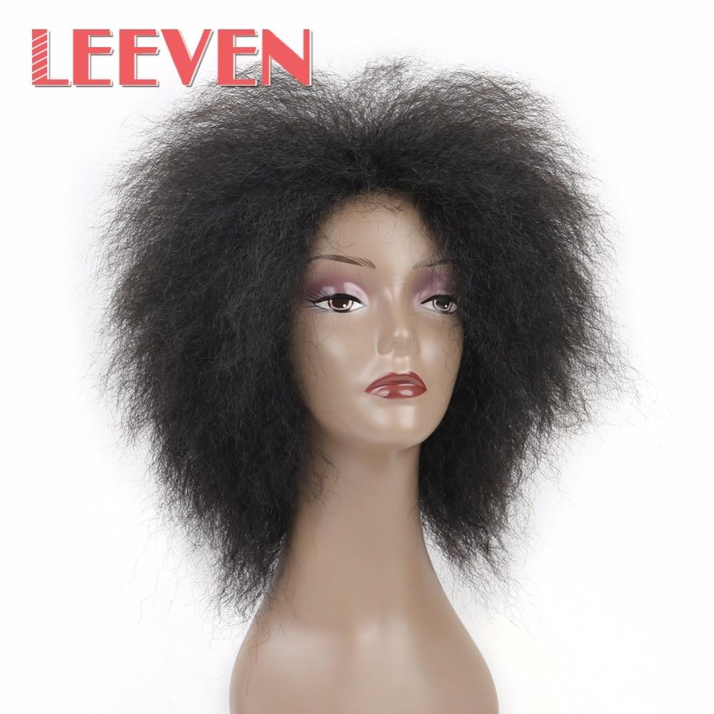Leeven 6.5 дюймов 100 г/шт. волос синтетические Короткие странный вьющиеся афро парик пушистый Искусственные парики для черный Для женщин высокое Температура Волокно