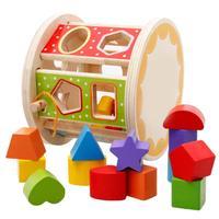 3D Wooden Puzzle Shape Sorter Box Geometric Matching Hole Puzzle Model Buildingblock Baby Kids Education Intelligence