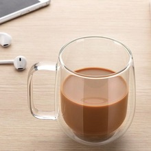 Double Wall Glass Coffee Cups Heat Resistant