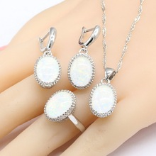 White Opal Stones Silver Color Jewelry Sets For Women, Necklace Pendant Drop Earrings Rings Christmas Gift Free Box