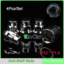 4 Unids/set Tuercas M12x1.5 Rueda antirrobo Tapón de Rosca, Coche de la alta Calidad de Aleación de Bloqueo Lug Nut Plata Extremo Cerrado