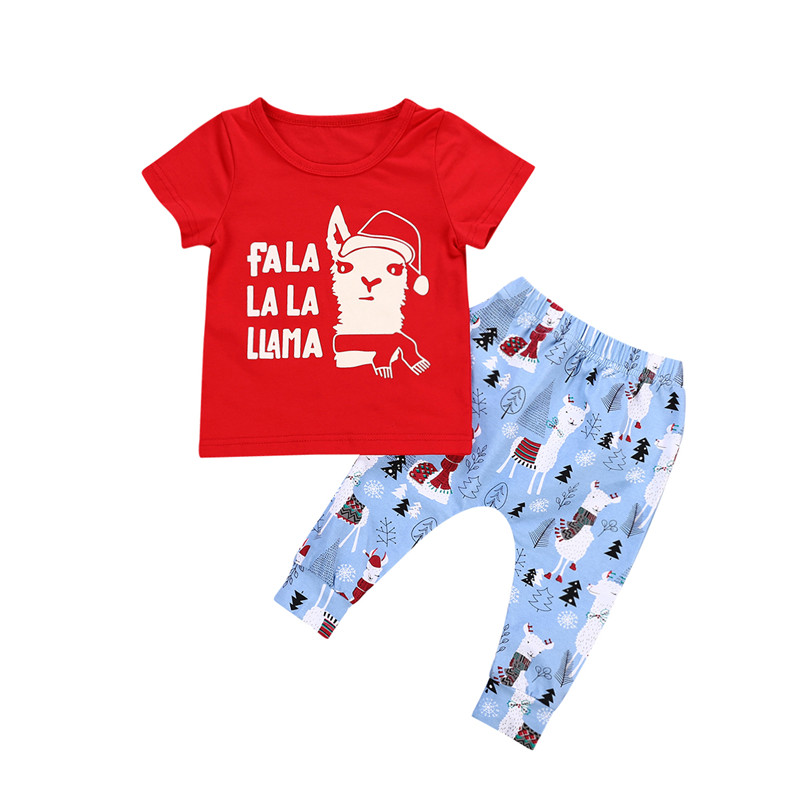 2Pcs Baby Boy Girl Christmas Clothes New 2018 Fashion Infant Baby Unisex Short Sleeve Top T-shirt+Pants Outfits Xmas Clothes Set