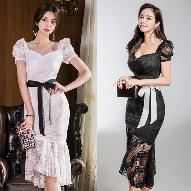 Elegant Vintage Party Sexy Black Women Knee-Length Dresses Hollow Lace Mesh Beach ball party dress Fashion