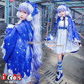 Night of Winter Snow Miku Starry Sky Blue Dress Cosplay Costume Free Shipping