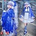 Noche de invierno nieve miku starry sky blue dress cosplay envío gratis