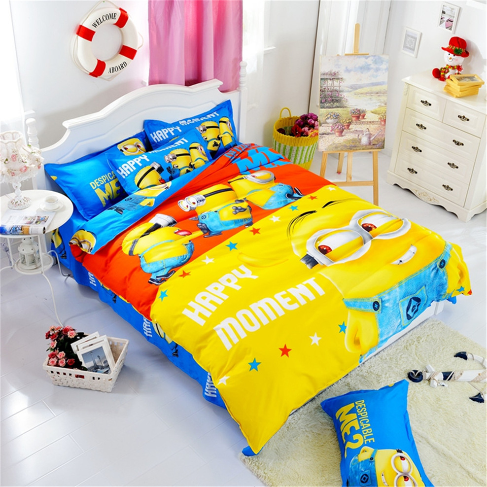 hot cotton bedding set cartoon printing minions mitch