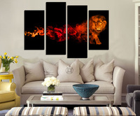 HD Printed Modern Abstract Oil Painting On Canvas Flame Tiger 4 PCS Wall Art Picture For Living Room Home Decoration Pictures