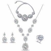 New Fashion Austriackie fioletowy Kryształ Shiny AAA Cyrkon Kamień Srebrny/Złoty Kolor Komunikat Naszyjniki Kolczyki Ślubne Zestaw Biżuterii