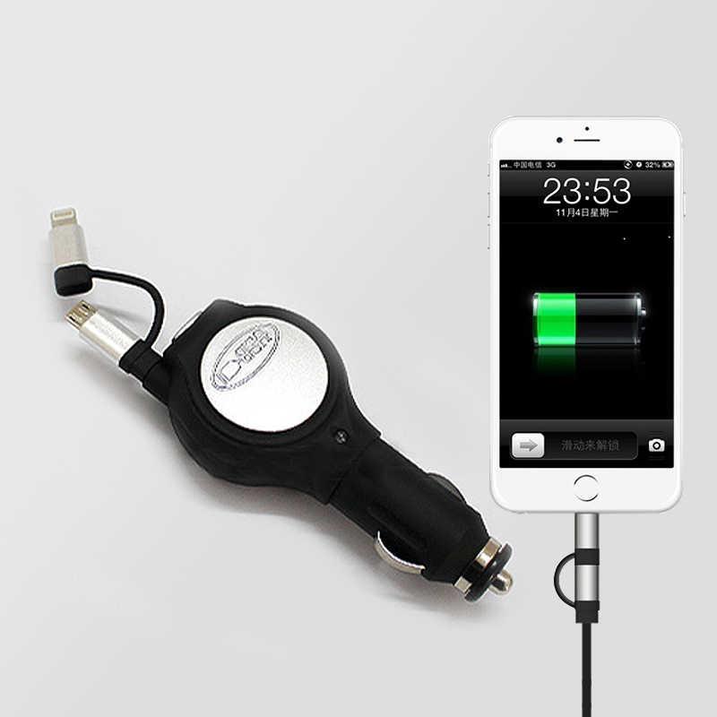 2 em 1 5V 2.1A saída Micro USB Carregador de Carro com cabo de Carregamento de uma porta usb para iphone 7s 7 Huawai 6s 6 Xiaomi Samsung