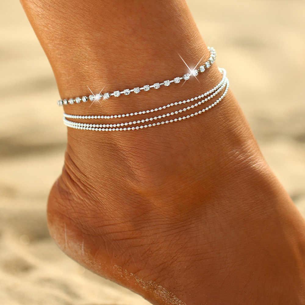 Złoty kolor srebrny moda praia bransoletka na kostkę na nodze 2019 moda lato plaża biżuteria na stopy Tobilleras De Plata Para Mujer