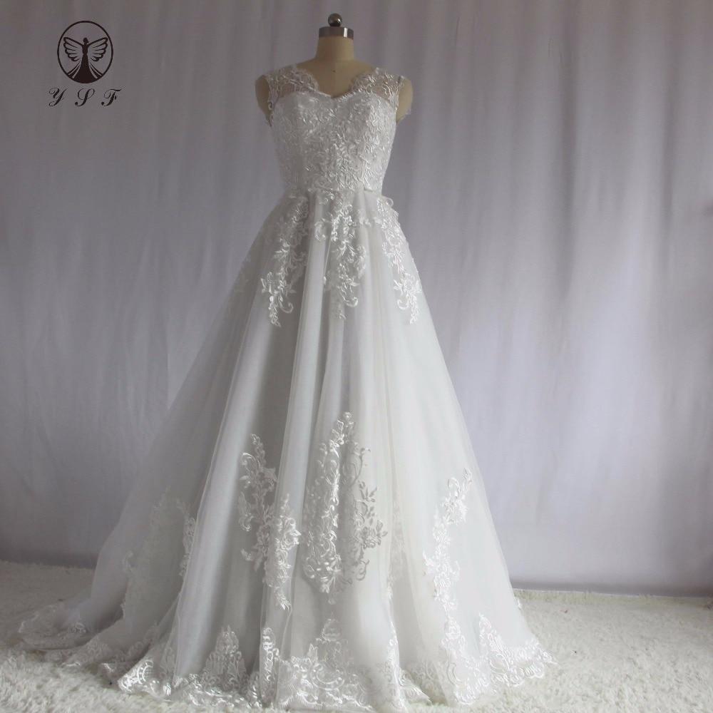 Glamorous Wedding Gown V Neck Appliqued Lace Sleeveless Corset A Line Vestidos De Novias
