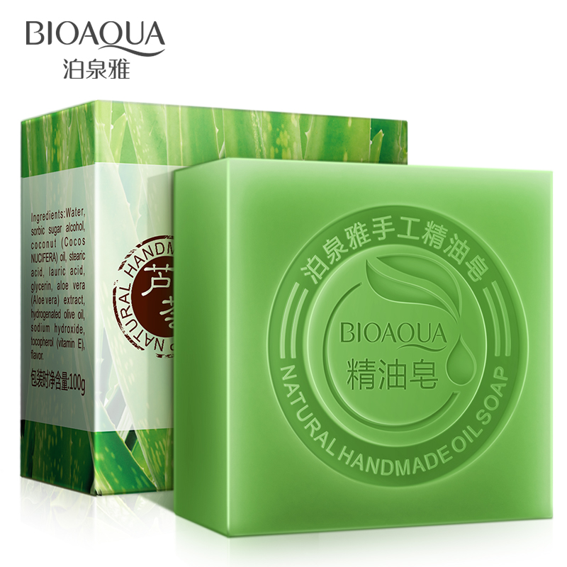 2Pcs/Lot BIOAQUA Aloe Vera Handmade Soap Skin Whitening Soap Blackhead Remover Acne Treatment Face Wash Hair Care Bath Skin Care