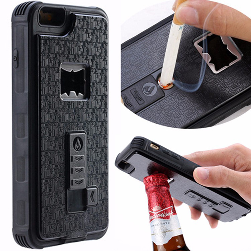 for iphone 7 7plus case 3 in 1 bottle opener cigarette lighter pc cover case for iphone 6 6plus. Black Bedroom Furniture Sets. Home Design Ideas