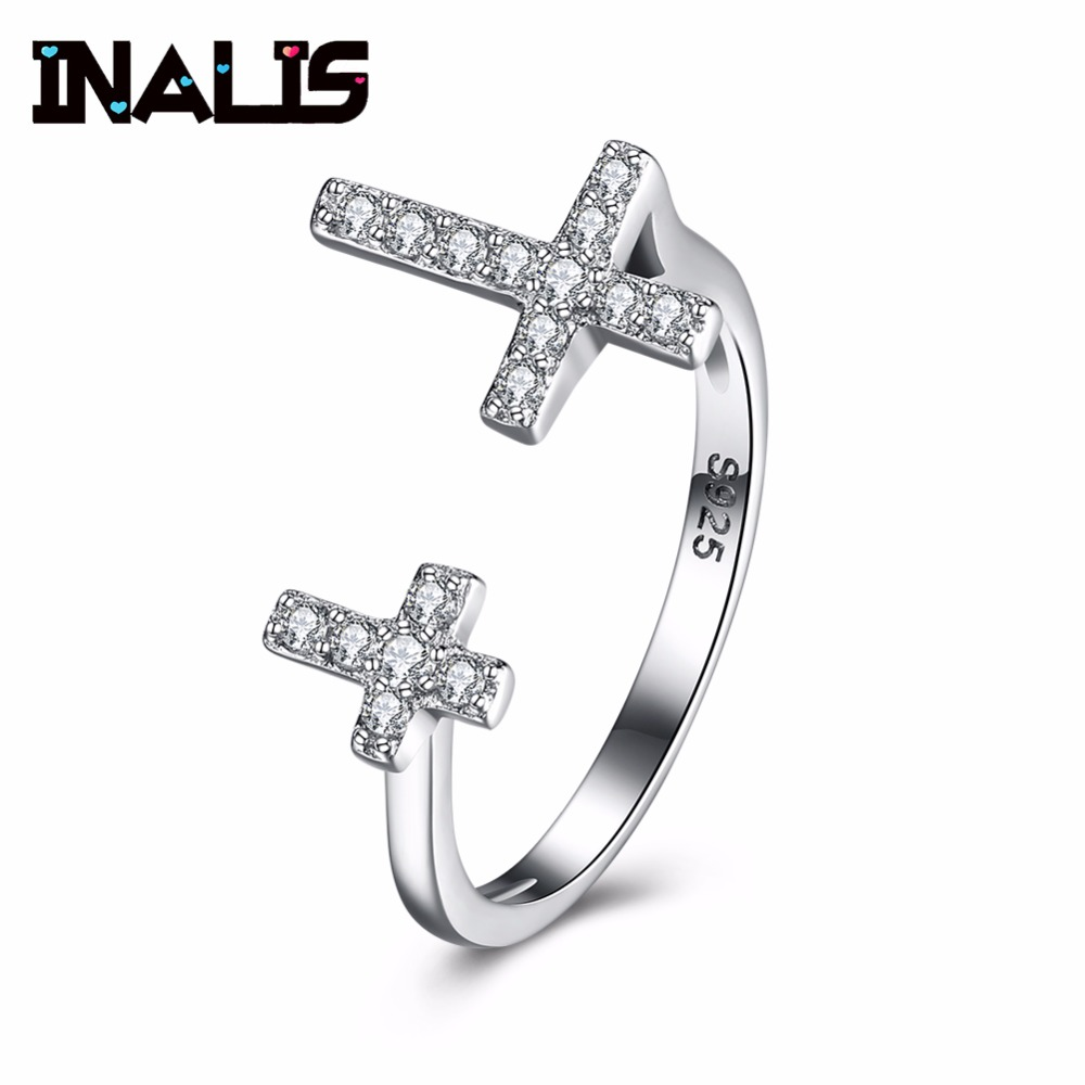 INALIS Fashion 925 Sterling Silver Finger Ring Micro Pave CZ Crystal Cross Adjustable Size Jewelry for Women Gift Wedding Bijoux