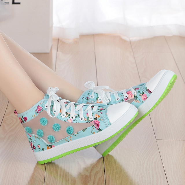 2018 Spring Fall Flat Canvas Shoes Big Girls Casual Floral High Top Mesh Gauze Splicing Canvas Sandals Kids Sports Shoes G602