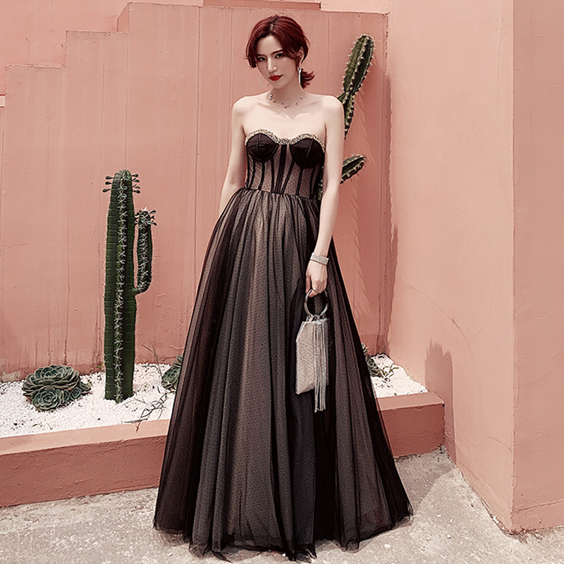 Evening     Dress   Black Sexy Wrap Chest Robe De Soiree Crystal Women Party   Dresses   2019 Long Plus Size Sleeveless   Evening   Gowns E678
