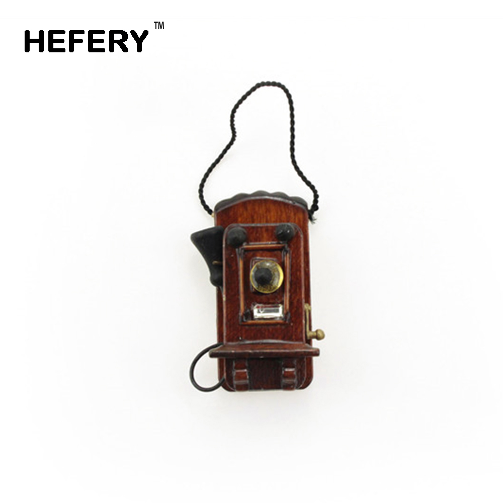 1/12 Dollhouse Miniature Accessories Mini Vintage Wall Hanging Telephone Simulation Furniture Toys For Doll House Decoration
