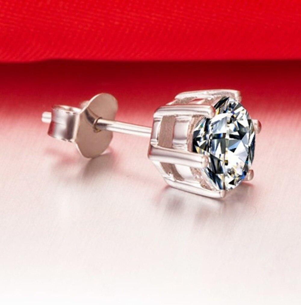 1 Ct Silver 14k White Gold Plated Earring Diamond Stud Earrings For Women  Stud Solitaire Diamond