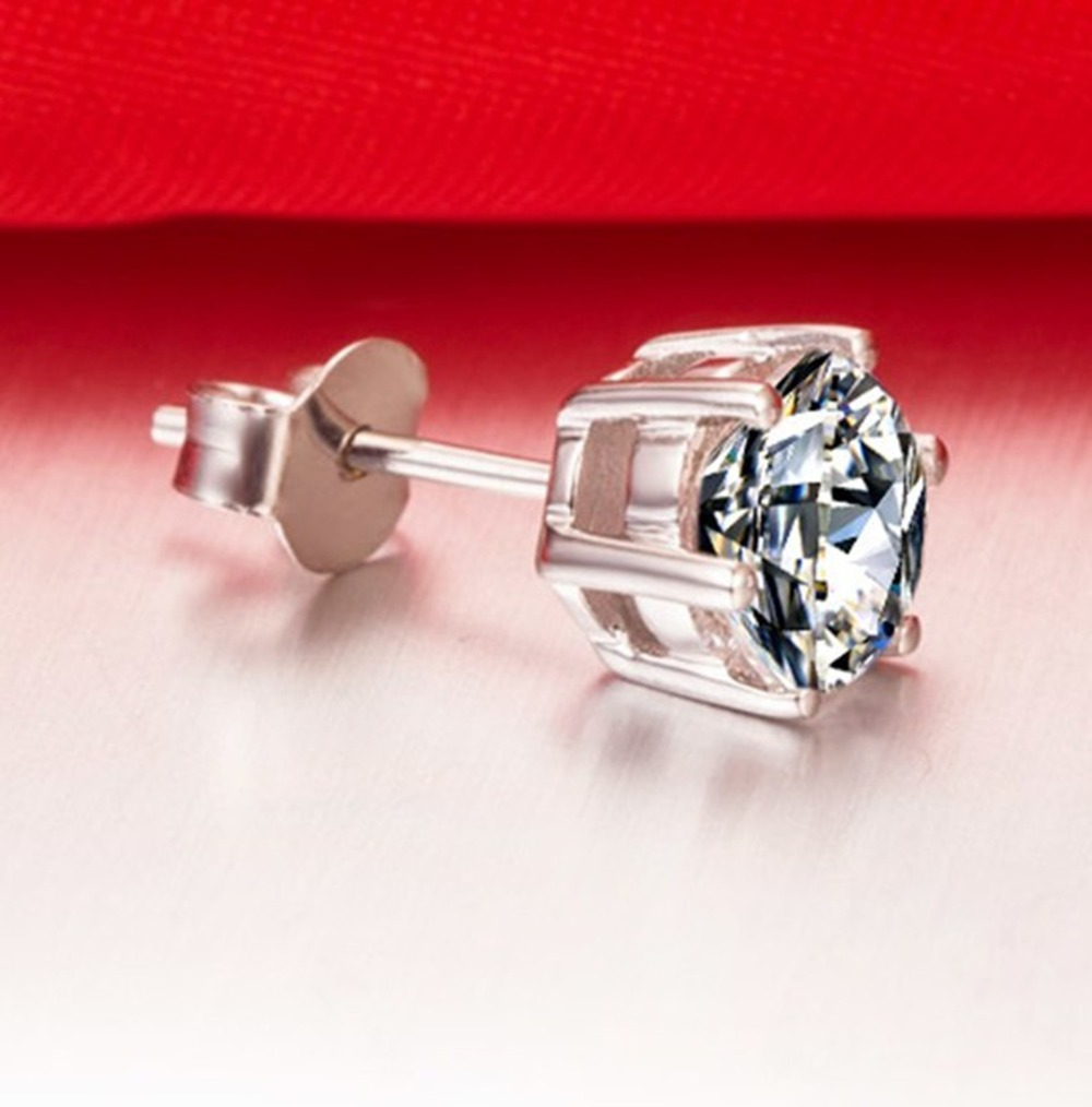 1ct Piece 925 Silver White Gold Plated Earring Simulate Diamond Stud Earrings Basket Women Solitaire Gs In From Jewelry
