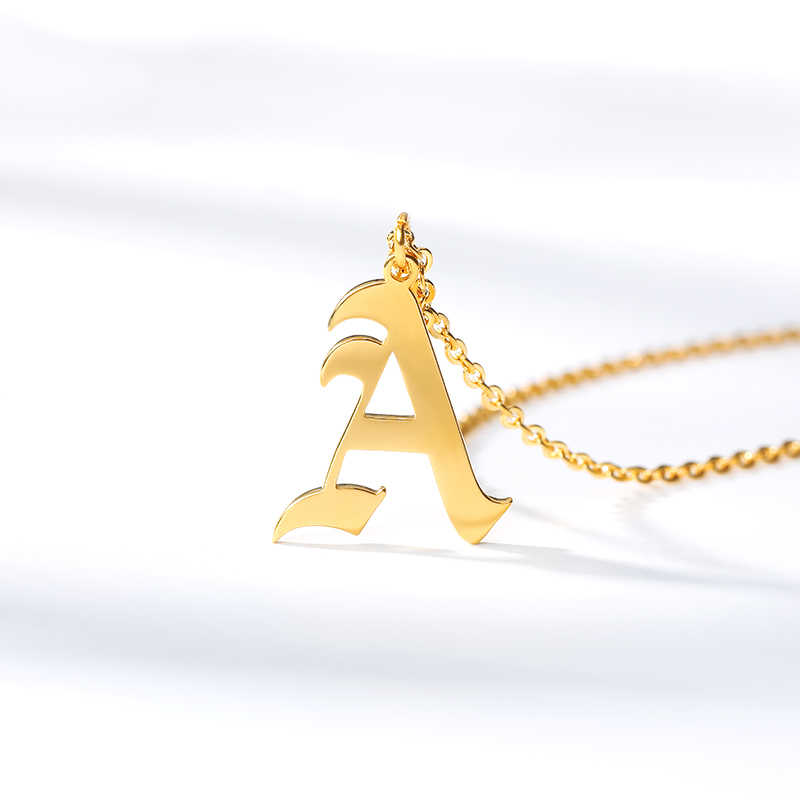 Gold Color Initial Pendant Old English Letter Jewelry Alphabe Necklace A B C D E F G H I J K L M N O P Q R S T U V W X Y Z