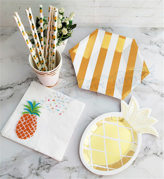 104 Sets Foil Gold Pineapple Tableware Party Decorations Paper Plates Cups Napkins Straws Pineapple Summer Tropical Party Decor