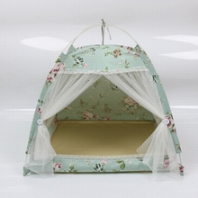 Flower-patterned pet tent Four-corner Bracket dog Cotton house Four-season Easy to clean and carry