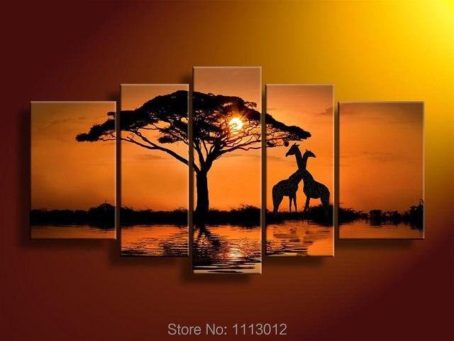 Gelbe Sonne Giraffe Baum Öl Auf Leinwand 5 Stück Blume Set Home Abstrakte  Wand Kunst Dekoration