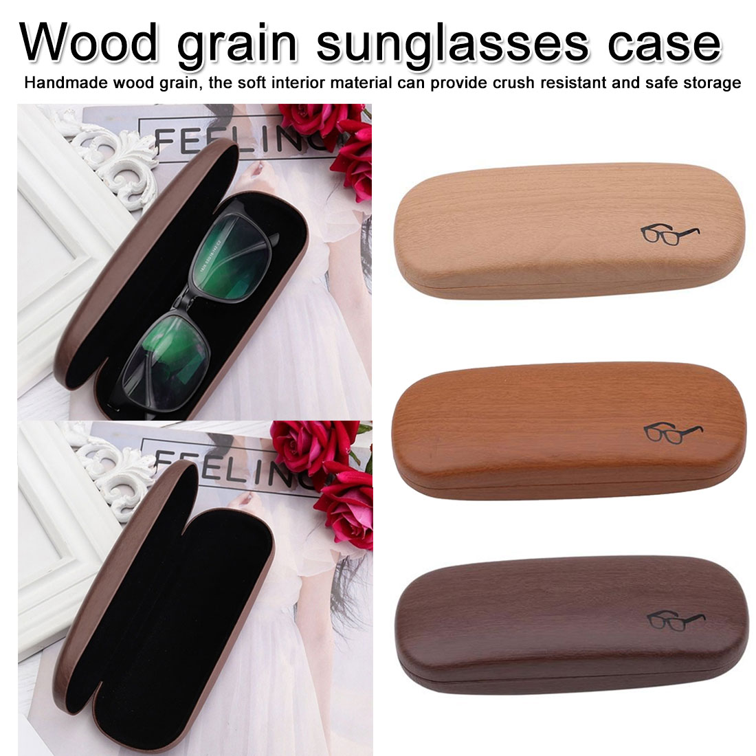Portable Glasses Case Hard Wooden Grain Spectacle Frame Box Reading Glasses Sunglasses Holder Storage Case sunglasses holder in Eyewear Accessories from Apparel Accessories