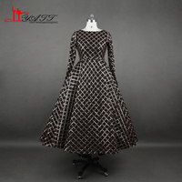 Real Photo Luxury 2017 New Arrival Evening Dresses Black And Gold Long Sleeves Puffy Ball Gown