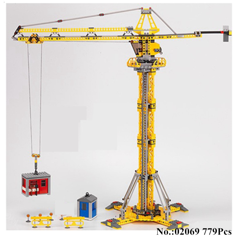 H&HXY 02069 Genuine 778Pcs City Series The Building Crane Set Building Blocks Bricks Educational Toys Children Gift Lepin Model lepin 37001 creative series the vestas windmill turbine set children educational building blocks bricks toys model for gift 4999
