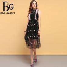 купить Baogarret Summer Fashion Designer Dress Women's Hollow Out Floral Embroidery Mesh Overlay Elegant Vintage Ladies Dresses дешево