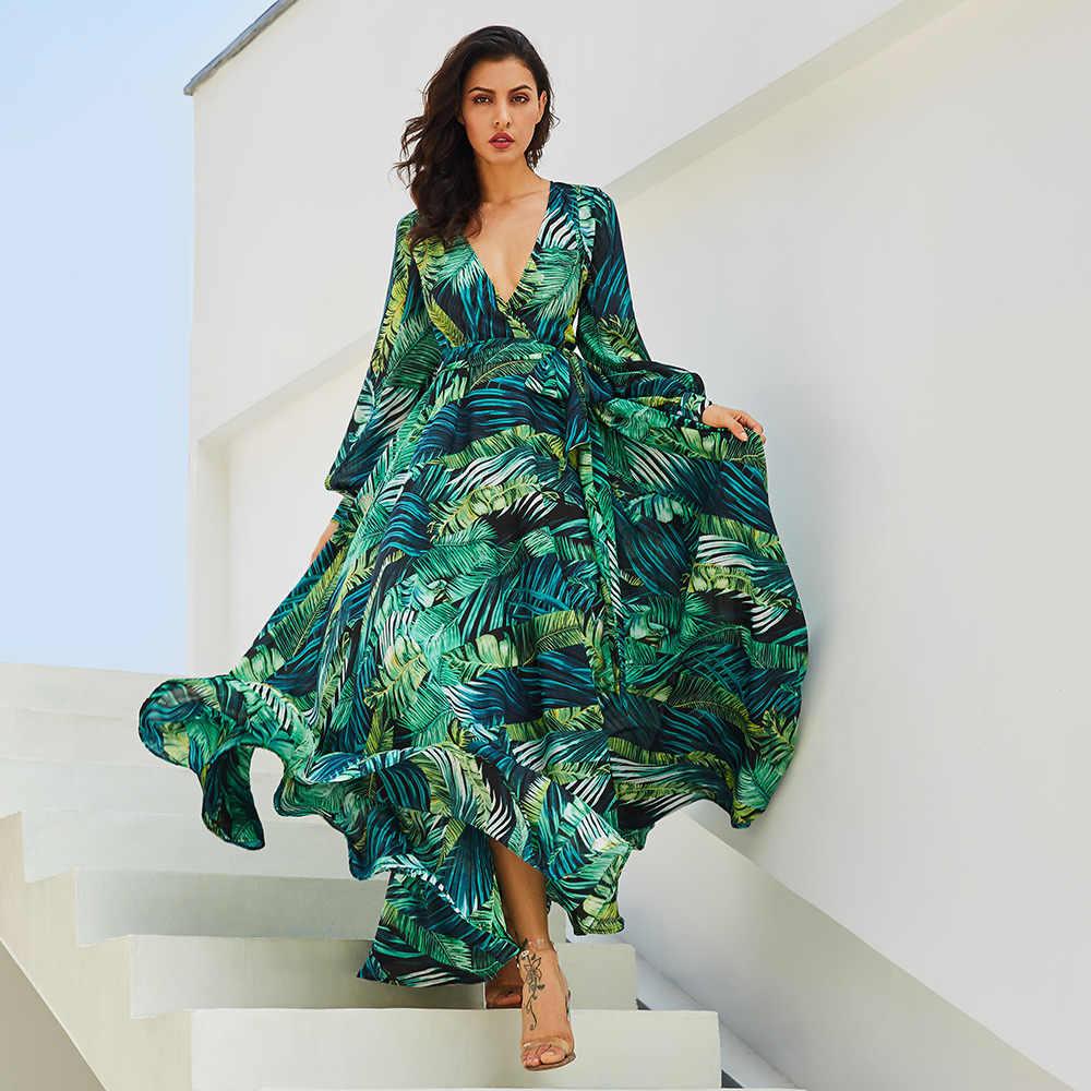 c1f461b6c9 Nuevo verano túnica cuello pico gasa Vestido de playa hojas tropicales  impreso verde manga larga maxi