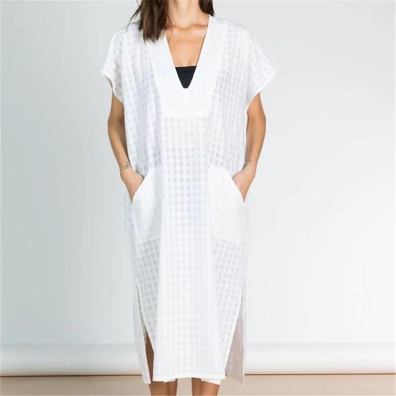 Women White Grid Turkish Kaftans Caftan Beachwear Bikini Swimsuit Cover Up Dress