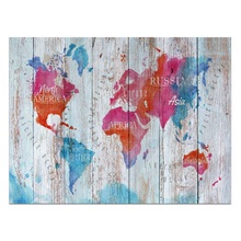 1 Piece HD Printed Color World Map on Wood Board Photo Canvas Art Painting Wall Picture for Home Decor Unframed/VA170814-1